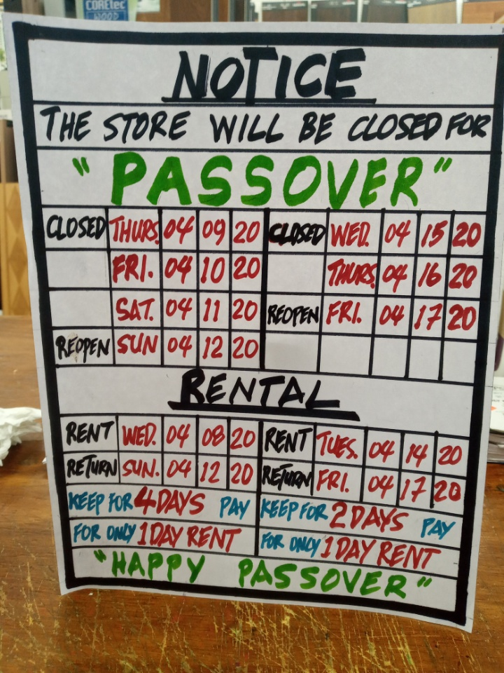 Passover Tool Rental Special